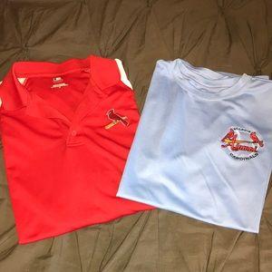 Two men's dry fit St. Louis Cardinals shirts